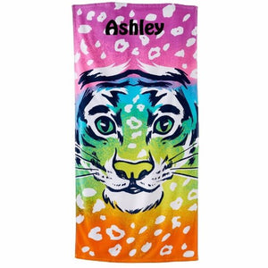 Rainbow TIGER Beach Towel Personalized