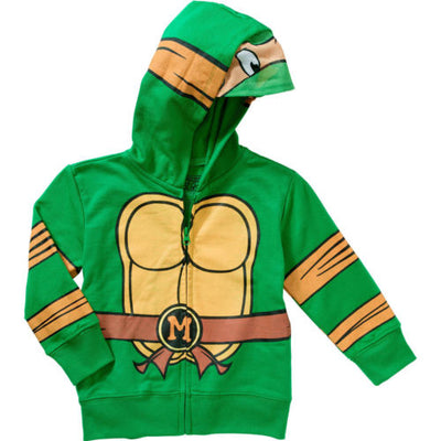 Nickelodeon TMNT Teenage Mutant Ninja Turtles Toddler 2T Hoodie Jacket - Visor - Michelangelo