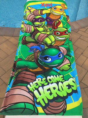 TMNT Turtles Beach Towel Here Come Heroes - Personalized Beach Towel