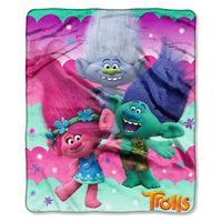 Dreamworks Trolls 'Poppy, Branch & Guy Diamond' Silk Touch Throw Kids Blanket - Personalized