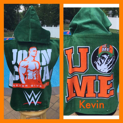 Wrestling WWE John Cens Hooded Towel Poncho Bath Beach or Pool Towel Poncho - Personalized