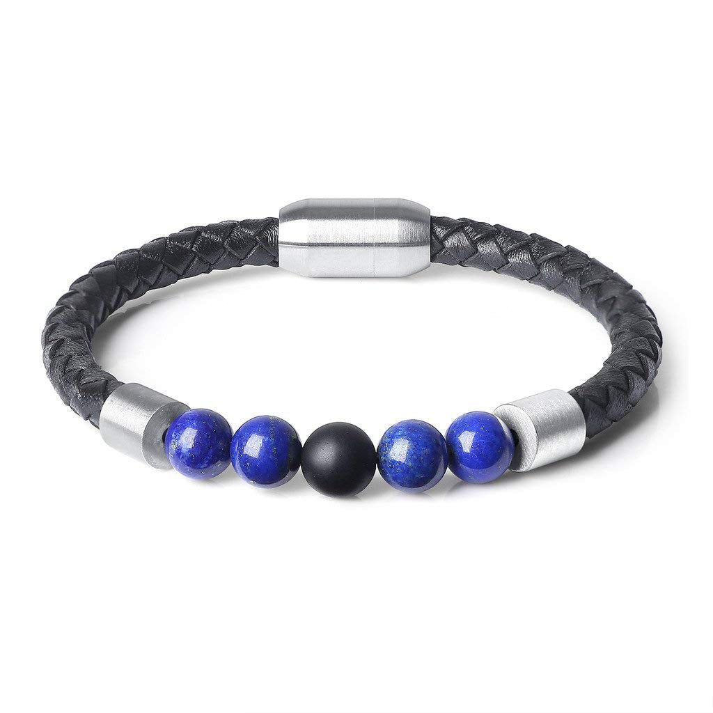 8mm Lapis Lazuli Stone & Black Leather Bracelet