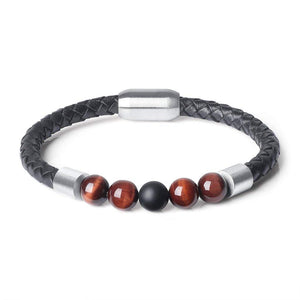8mm Red Tiger's Eye Stone & Black Leather Bracelet