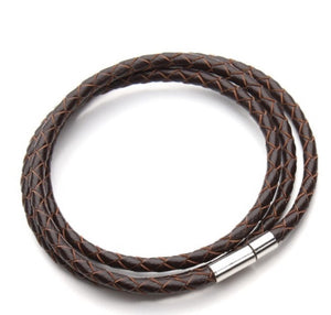 Lizard Braided Leather & Silver Bracelet