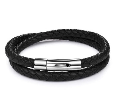 Rock Rio Double Wrap Black Leather Bracelet
