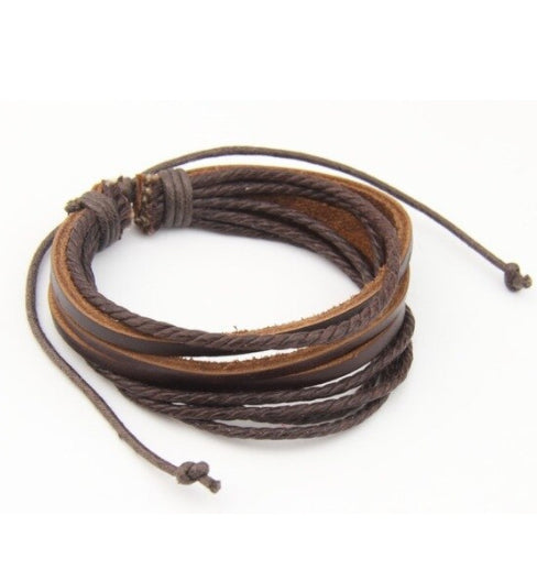 Rustic Brown Multilayer Leather Bracelet