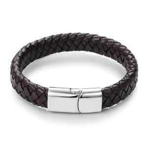 Sao Paulo Brown & Silver Leather Bracelet