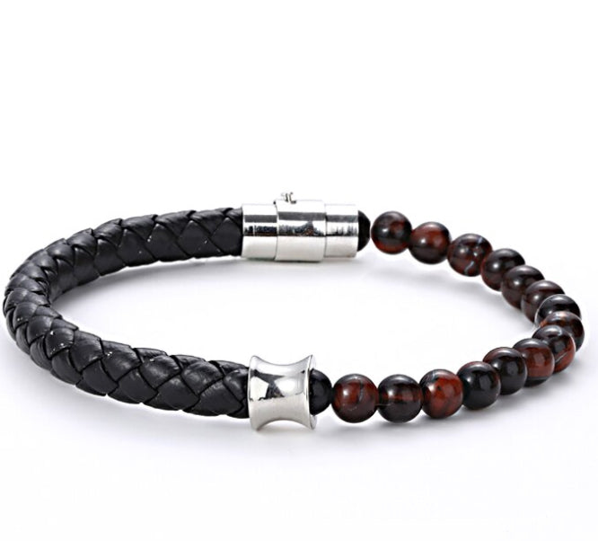 Made of natural 8 mm tiger's eye, meticulously braided and tied together with our signature finishing touches to our Stainless Steel  clasps. This powerful yet elegant piece is the perfect accessory for any occasion, whether dressed up or casual.  Inspired by fashion lifestyle, Duo bracelet is an exquisitely modern accessory for an exceptional stylish look.