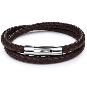 Rock Rio Double Wrap Brown Leather Bracelet