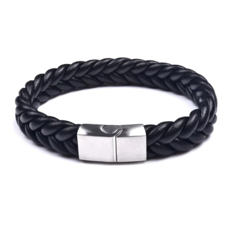 Elite Black & Silver Leather Bracelet