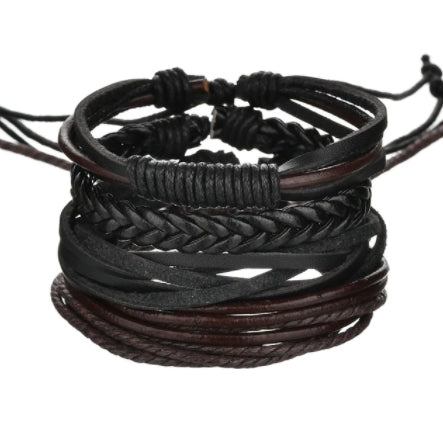 Icon Multi Leather Black & Brown Bracelet