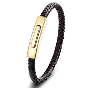 Impeccable Brown & Black Leather Bracelet