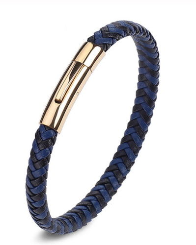 Ipanema Premium Black & Deep Blue Braided Leather Bracelet