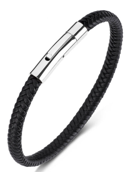 Ipanema Premium Black Braided Leather Bracelet