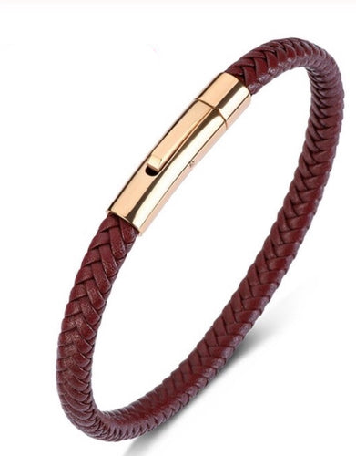 Deep Red Braided Bracelet Leather