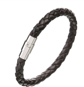 Rock Rio Braided Black Leather Bracelet