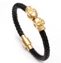 Twin Skull Braided Leather Bracelet
