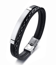 Solid Silver & Black Leather Bracelet