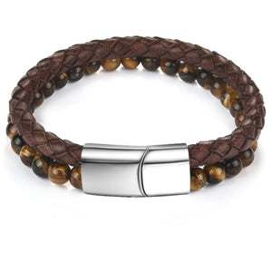 Dual 6mm Tiger's Eye & Brown Leather