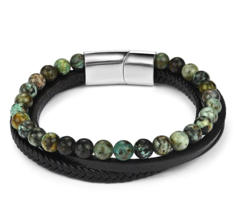 Dual 6mm Green Jasper & Black Onyx Leather Bracelet