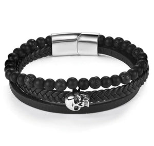 Skull 3 Elements Black Leather & Lava Stone Bracelet