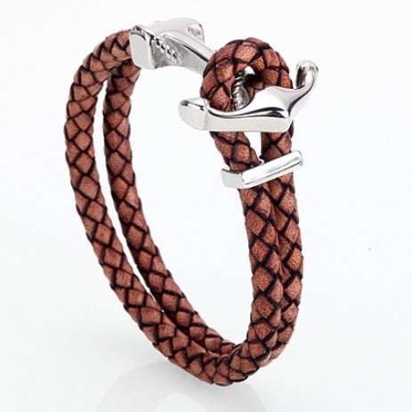 Brown & Silver Anchor Clasp Bracelet