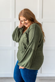 Easily Adored Balloon Sleeve Top - Olive