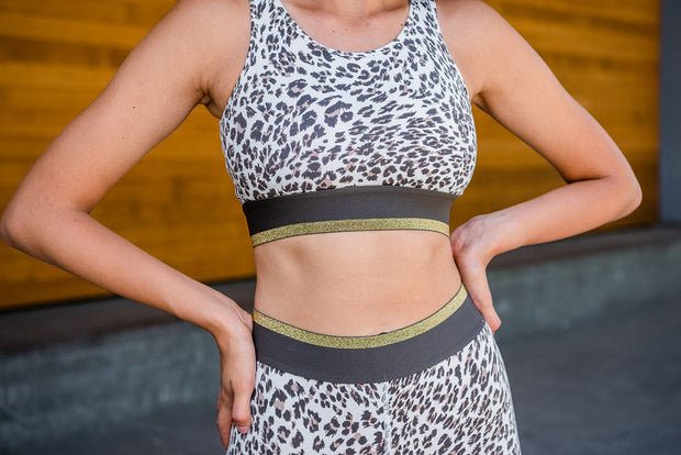Jaguar Print Cutout Sports Bra
