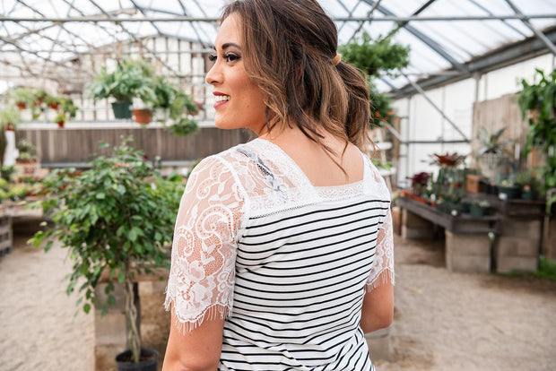 A Romantic Twist Lace Sleeve Top- White