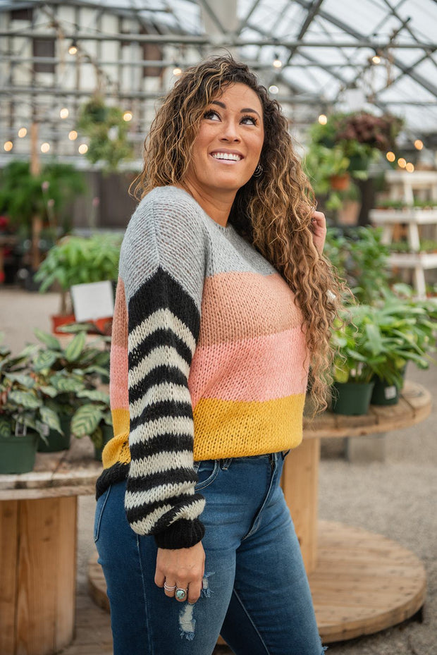 Snowy Daze Color Block Sweater