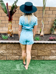 Denim Front Zip Romper