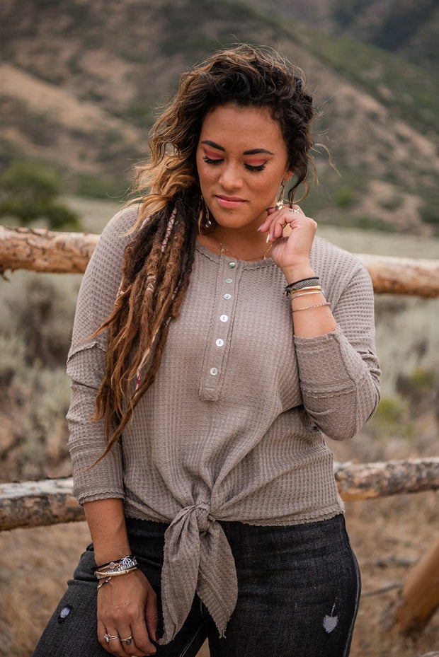 Places To Go Waffle Knit Henley Top