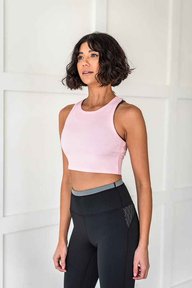 Work It Out Cropped Tank Top - Pink