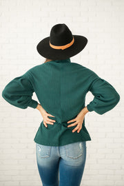 Did You Say Paris Pleated Sleeve Top - Emerald