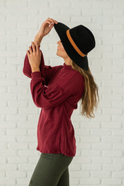 Did You Say Paris Pleated Sleeve Top - Burgundy