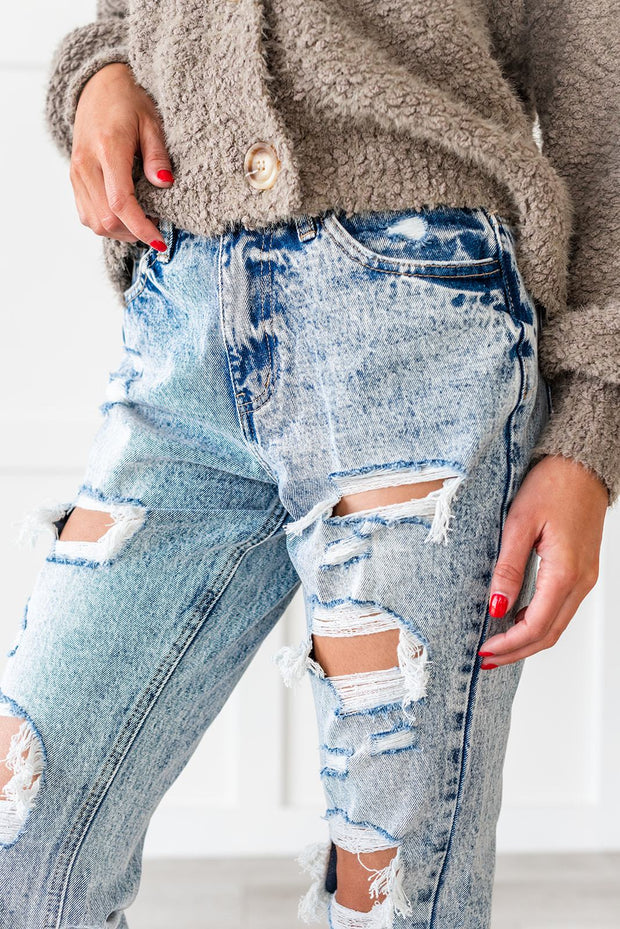 Girl Gang Stone Washed Distressed Jeans