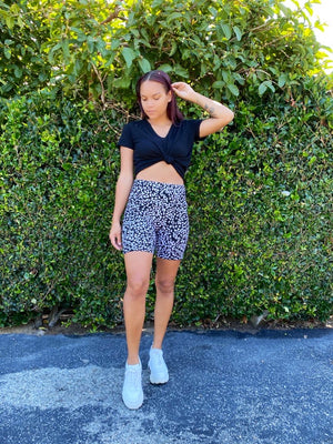 LARGE Dark Leopard Biker Shorts