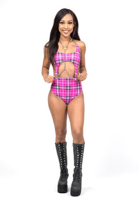 Pink Plaid High Waist Bottoms