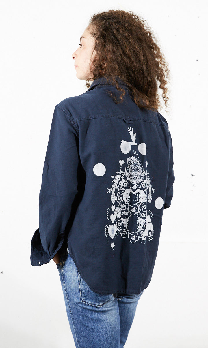 Cotton Shirt Jacket with Rose Totem Print