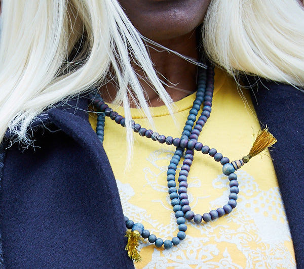 Indigo Dyed Sandalwood Japa Mala Bead Necklace