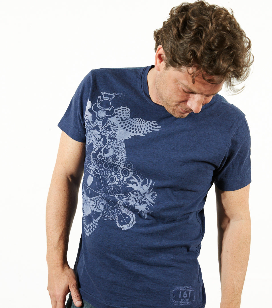 Heather slub yarn 100% cotton T-shirt -Indigo -Love & Light