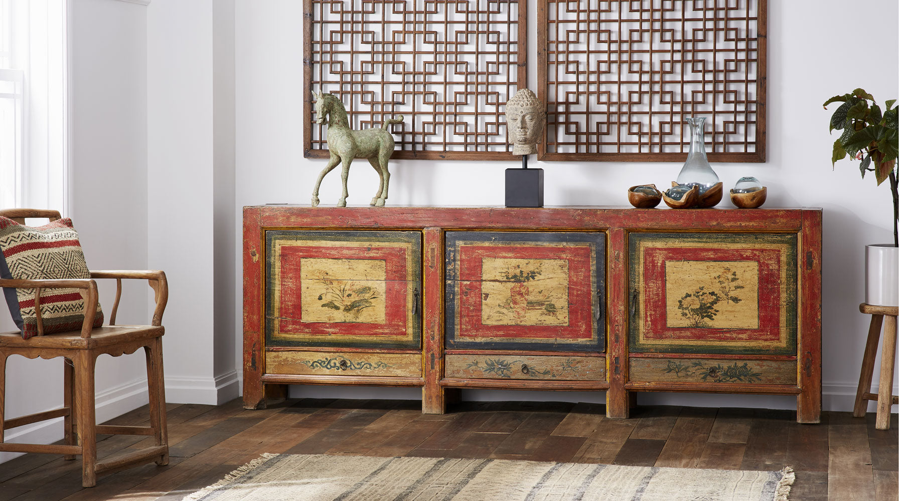 Large Painted Sideboard from Qinghai Province