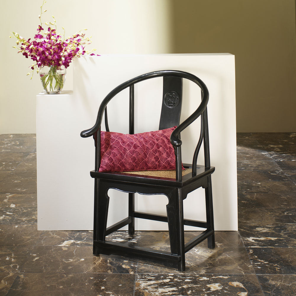 Black Lacquer Horseshoe Armchair