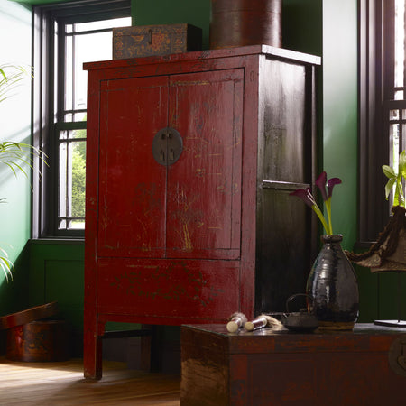Chinese antique cabinet in red lacquer