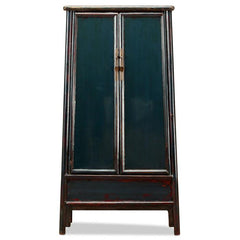 Teal Lacquer Tapered Armoire