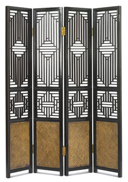 Black Lacquer Ming Carved Screen