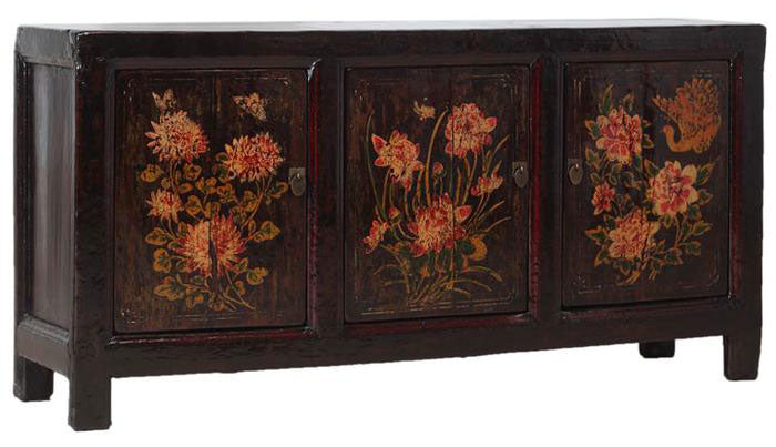 Floral Painted Chinese Sideboard