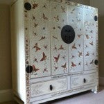 Cream lacquer painted Chinese cabinet