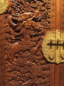 carvings on nanmu cabinet