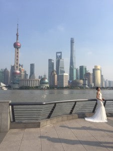 Bride to be against the Pudong skyine